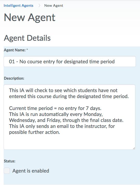 Intelligent Agents - Getting Started-Agent Details